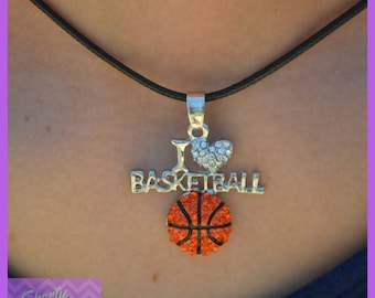 "Basketball Gift Basketball Jewelry - Basketball Team Gift - I ""Heart"" Girls Basketball Necklace - Basketball Coach - Basketball Player"
