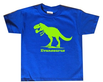 T Rex Dinosaur Birthday Dinosaur Name Shirt - any name - pick your colors!