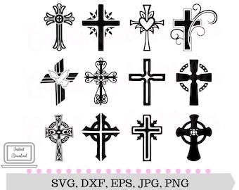 Crosses SVG - Decorative Crosses - Digital Cutting File - Cricut SVG File - Vector File - Instant Download - Svg, Dxf, Jpg, Eps, Png
