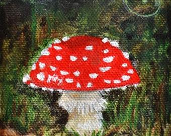 Original Acrylic Fly Agaric Mushroom Painting ACEO art card by Amanda Christine