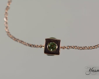 Cube with Peridot on rose gold-plated 925 silver