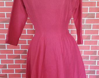 Vintage Handmade Dark Pink Wool Dress With Pockets - Only One Available