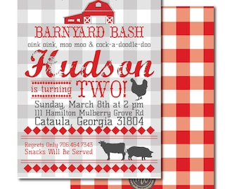 Barnyard Birthday Invitation, Barnyard Bash, Farm Birthday Invitation