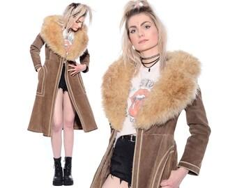 Vintage 60s 70s SUEDE Huge Faux Fur Collar Shearling BOHO Almost Famous Hippie Princess Coat Jacket S M vtg