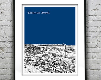 Hampton Beach New Hampshire Poster Print Art Skyline NH Version 1