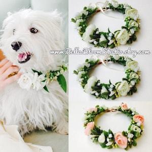Dog wedding Collar, Dog of honor, dog wedding Leash, Dog flower collar, Wedding dog collar, Girl dog collar,Dog wedding attire etsy