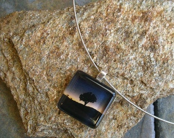 Joshua Tree Jewelry - Glass Tile Pendant Choker - photo jewelry - Joshua Tree in a Blue Sunset