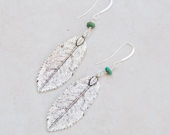 Antique Silver Leaf Earrings with Turquoise, Silver Long Earrings, Boho Leaf Earrings, Everyday Earrings, Delicate Bohemian long earrings