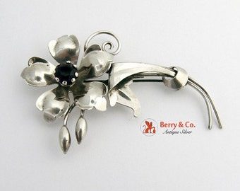 SaLe! sALe! Vintage Retro Flower Brooch Sterling Silver