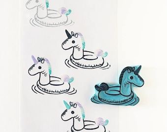 Unicorn pool float, rubber stamp, hand carved stamp, unicorn love