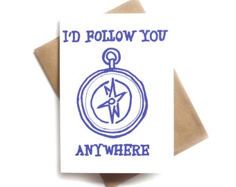 Follow You Anywhere Card | Compass Long Distance Love Card | Hiking Card for Boyfriend | Wanderlust Card for Girlfriend | Cute Valentines
