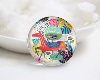 Handmade Round Horse Photo Glass Cabochons (P3425)