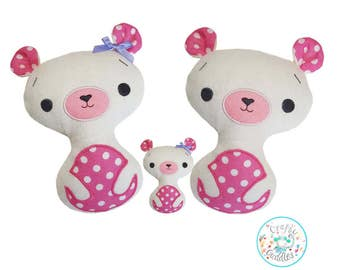 ITH Easy Teddy Bear Toy Stuffie Softie Pattern Machine Embroidery File, in the hoop teddy bear, ITH bear,  4x4, 5x7, 6x10, 7x12, 8x12