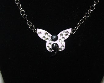 Lavender Semicolon Butterfly Charm Necklace