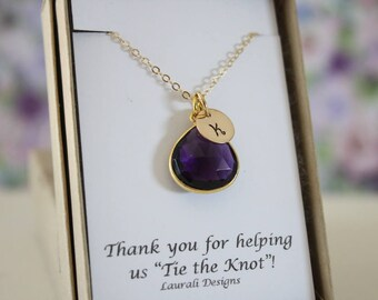 8 Bridesmaid Monogram Necklace Gold Amethyst, Bridesmaid Gift, Purple Quartz, Gold, Initial Jewelry, Personalized, Jr Bridesmaid Gift