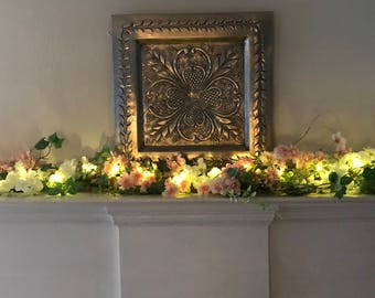 Spring Garland, Cherry Blossom Garland, Mantle Garland with Lights, Fireplace Swag, Pink and White Cherry Blossom Garland