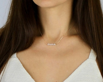 Herkimer Diamond Bar Necklace - Diamond Row Necklace - April Birthstone Necklace Gift for Her - Herkimer Diamond Rose Gold Silver Necklace