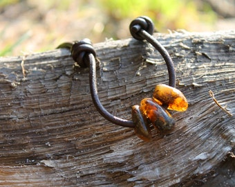 Pebble Surfer Necklace Amber Leather Dude Jewelry  Sunny Beach  for him Brown Earthy Surf Choker