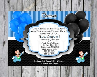Baby shower invitation Mickey Blue and Black