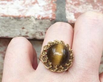 Tigers eye 14 k gold ring