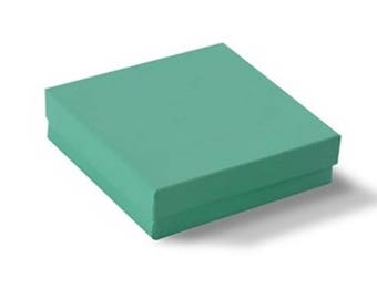 """8  Teal Glossy Jewelry Packaging Gift Boxes  Cotton Filled Lid 3 1/2"""" x 3 1/2"""" x 1"""""""