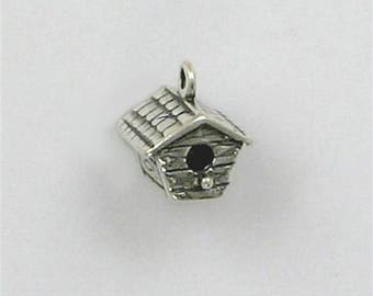 """Sterling Silver 3/8"""" 3-D  Birdhouse Charm"""