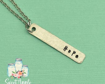 Hope Necklace, Inspirational Necklace, Courage Necklace, Strength Necklace, Bar Necklace, Delicate Jewelry, Inspiration Jewelry, Hope