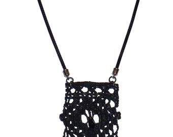 Hellenic style handmade knitted statement necklace with black crystal tears