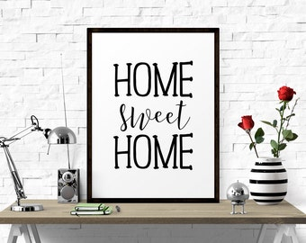 Typography Poster, Home Sweet Home, Printable Art, Typography Print, Home Decor, Home Wall Art, Quotes For Home, Printable Quote