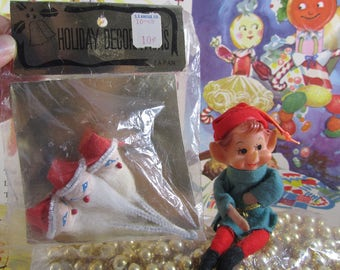Vintage Santa Tie Ons Spun Cotton Heads Miniature Christmas Putz Craft Supply Japan Chenille Picks S.S. Kresge NOS