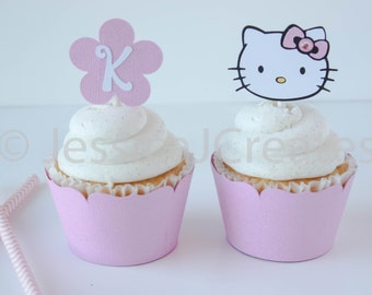 Cupcake Toppers - Hello Kitty Cupcake Toppers - Hello Kitty Party - Hello Kitty - Hello Kitty Party Decor - 12 ct