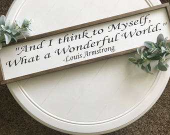 Large What a Wonderful World Sign