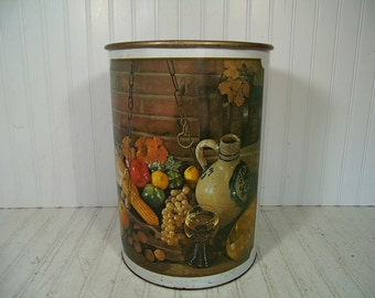 Large Trash Can Primitive Still Life Lithograph Off White Enamel Metal Vintage Retro Ballonoff Round Over Sized Decorator Trash Basket Bin