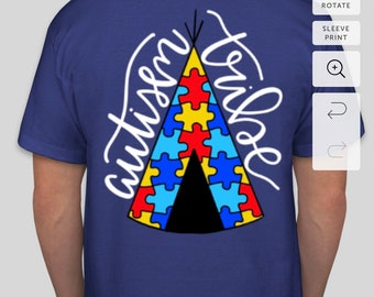 Hand Lettered Autism Tribe Puzzle Piece Teepee Shirt