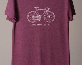 Ann Arbor shirt, Ann Arbor tee, Ann Arbor Michigan tshirt, Ann Arbor cycling tee, bike tee