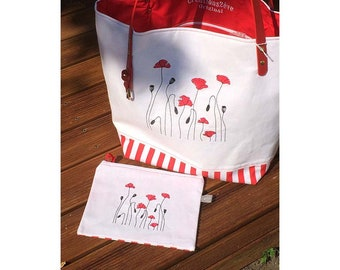 """Red and white """"Poppies"""" cotton tote with its matching pouch bag"""