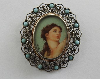 Hand Painted Portrait Brooch or Pendant