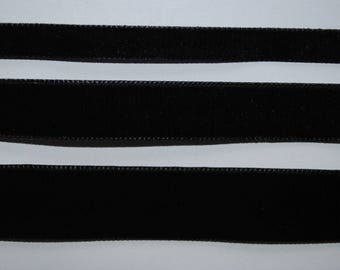 Velvet Ribbon black 22mm wide sold by the yard