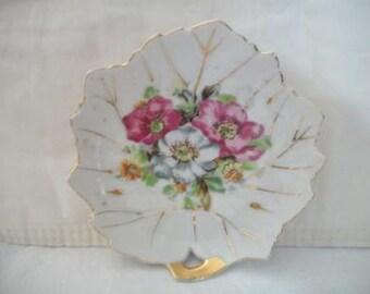 Vintage Leaf Shaped Floral Trinket Butter pat Dish Japan