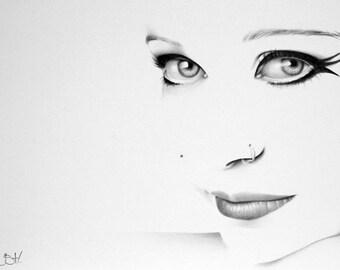 Anneke van Giersbergen Minimalism Pencil Drawing Fine Art Portrait Signed Print