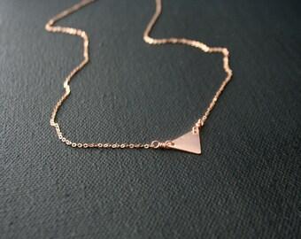 Tiny triangle rose gold necklace - minimalist - geometric