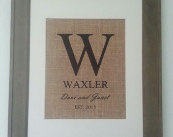 Burlap Personalized wedding anniversary wall art print gift