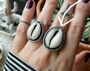Size 8 Cowrie Shell Ring, sterling silver, oxidized, bezel set, bohemian, hippie, goddess, handmade, ready to ship