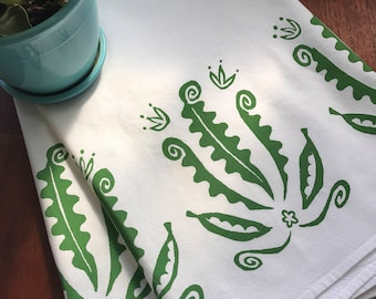 hand printed flour sack towel, ferns, peas, green tea towel, eco-friendly gift, shower gift, hostess gift under 50, white kitchen towel