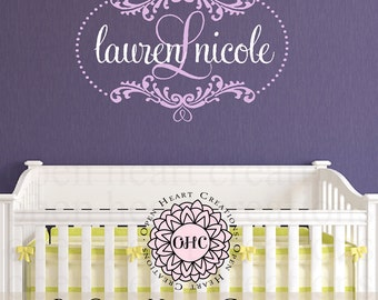 Baby Initial and Name Wall Decal with Beautiful Shabby Chic Frame Accents and Polka Dots - Nursery Girl or Boy Vinyl Monogram FN0603