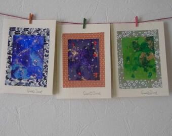 "3 Handmade Cards | Greetings | Abstract Art | Small Artworks | 7"" x 5"" | Chiyogami | Birthday | Anniversary"