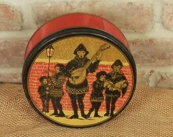Vintage Christmas Tin / Christmas Carolers Tin / Tindeco Tin / Red Christmas Tin with Carolers in Black and Metallic Gold