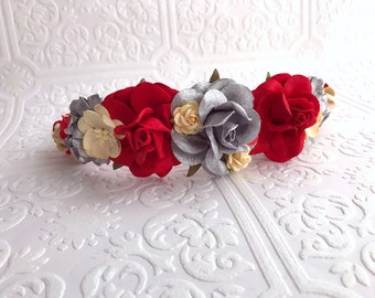 The Silver and Red Goddess Floral Crown