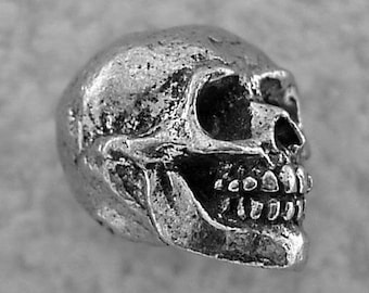 Green Girl Studios Smiling Skull Pewter Bead