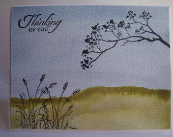 Thinking of You Card.  Water Colored and Hand Stamped Field Scene.  Appropriate for Friendship, Sympathy or Get Well.